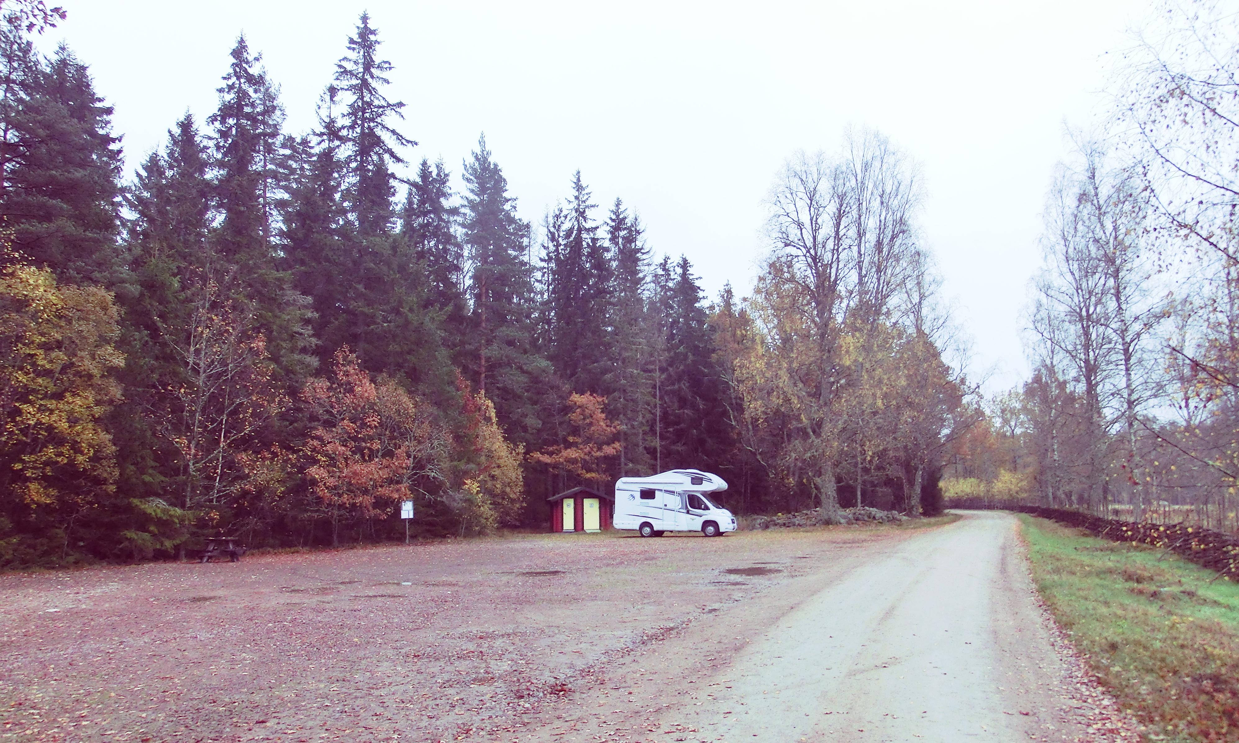 Wohnmobil auf einem Parkplatz im Wald