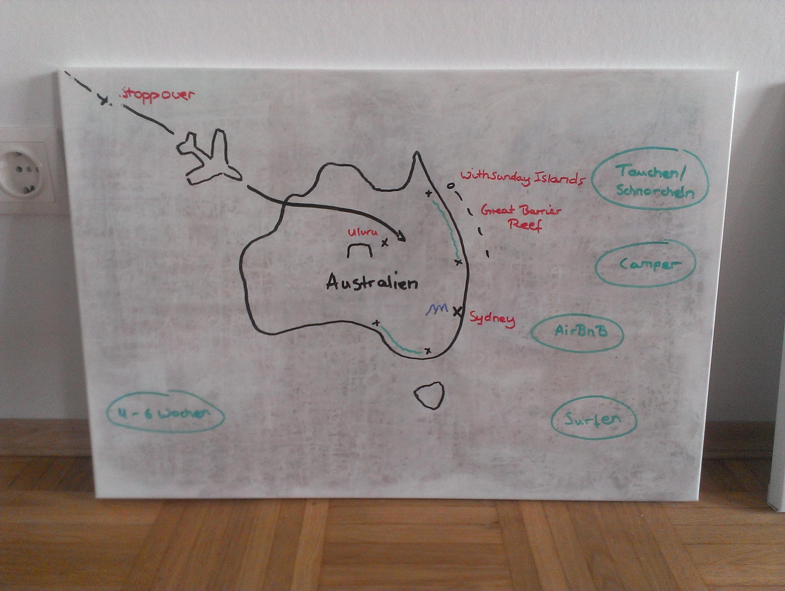 Reiseroute für Australien - Board 1